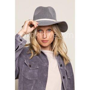 Modern Grey Woven Panama Summer Sun Boho Beach Hat